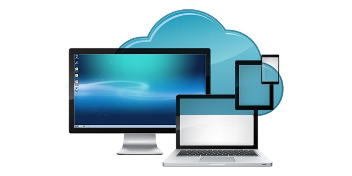 Cloud Desktop graphic with laptop, desktop, mobile device, tablet and cloud